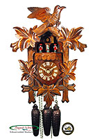 8-Day Cuckoo Clock Music Dancers Bird & Leaf Design, 16.5inch